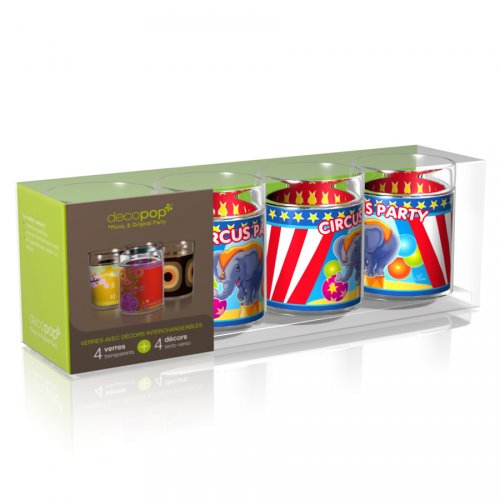 Coffret 4 Verres Decopop Circus Party !
