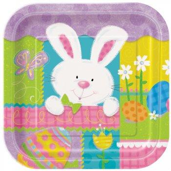 10 assiettes carrées lapin