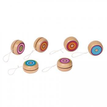 4 yoyos en bois cercles colorés