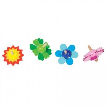 4 Toupies en bois Fleurs