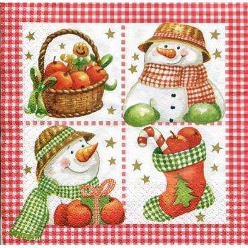 Serviettes papier bonhomme de neige 4 dessins