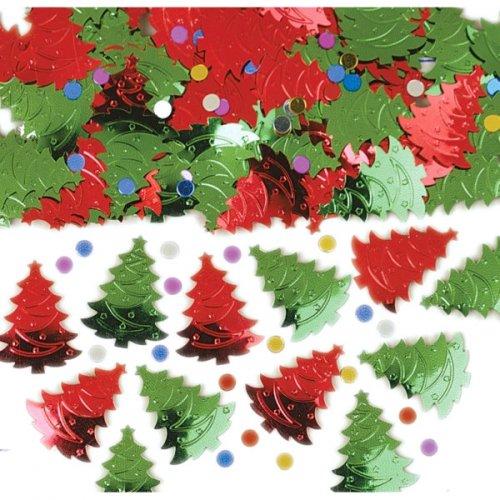 Confettis sapins verts et rouges