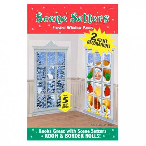 2 scènes décoratives Père Noël et Paysage d hiver