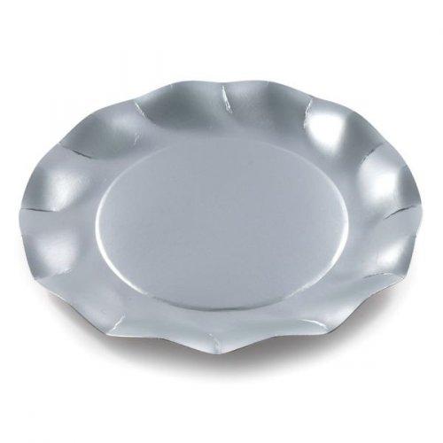 10 assiettes plates Argent satiné