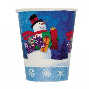 8 Gobelets bonhomme de neige avec cadeaux