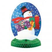 Centre de table bonhomme de neige avec cadeaux