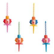 4 têtes de clown avec bougies