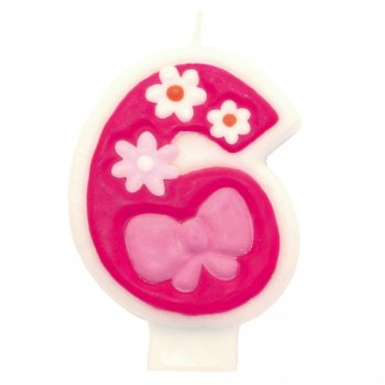 Bougie Pink Flowers 6 ans
