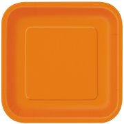 16 Assiettes Orange Carr�es