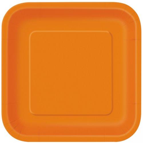 16 Assiettes Orange Carrées