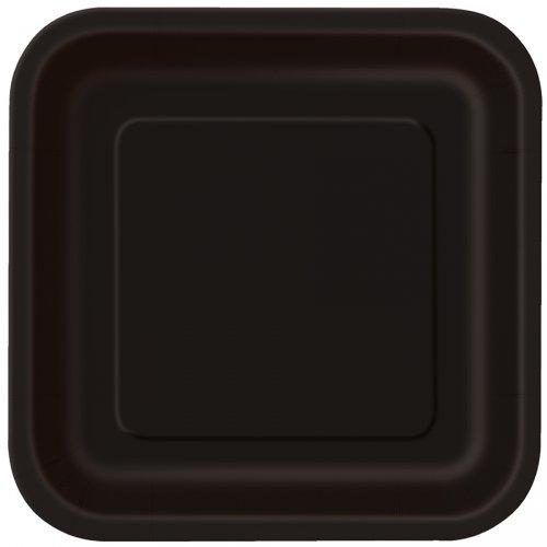 16 Assiettes Noir Carrées