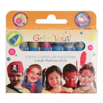6 gros Crayons à maquillage métallisé