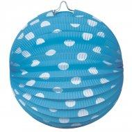 4 Lampions Boules à pois Bleu Ciel