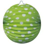 4 Lampions Boules à pois Vert anis