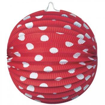 4 Lampions Boules à pois Rouge