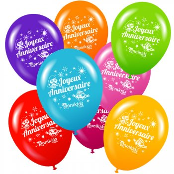 8 ballons Annikids Joyeux Anniversaire