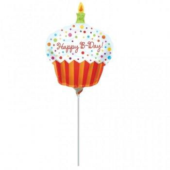 Ballon sur tige Happy Birthday Cupcake