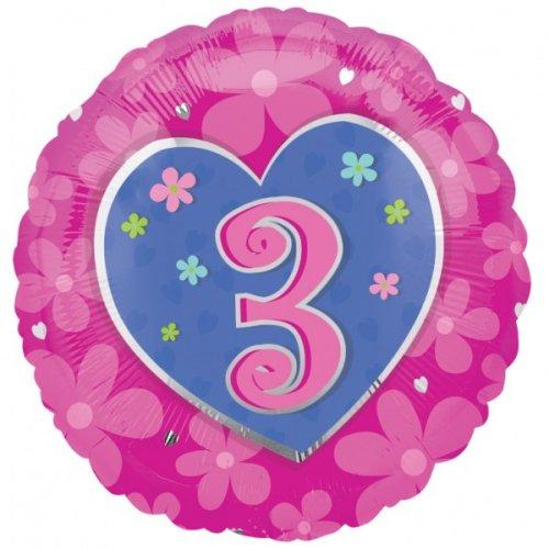 Ballon Gonflé à l Hélium Coeur 3 ans