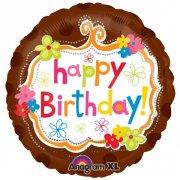 Ballon Hélium Happy Birthday Chocolat