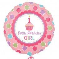 Ballon Gonflé à l'Hélium Cupcake 1 an fille