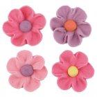 Fleurs Roses et Mauves en sucre � plat