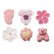 6 Figurines Bébé Rose