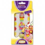 Figurines clowns et fleurs en sucre à plat