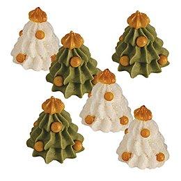 6 Sapins blancs et verts en sucre 3D