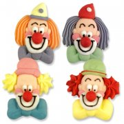 4 t�tes de clowns en sucre