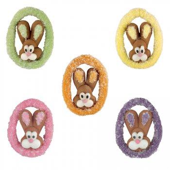 5 Têtes de lapin sur médaillon Oeuf cristallisé