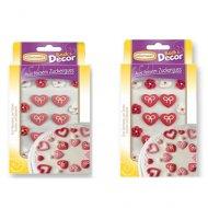 Coeurs avec petit noeud et fleurs en sucre