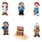 5 figurines pirates et 1 coffre en sucre 3D