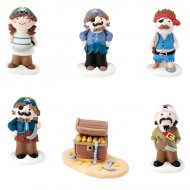 5 figurines pirates et 1 coffre en sucre 3D