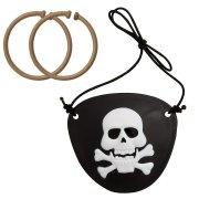 1 set  2 cache-oeil et boucles d'oreilles pirate