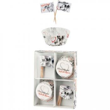 Kit 30 Caissettes et Déco à Cupcakes Mickey et Minnie