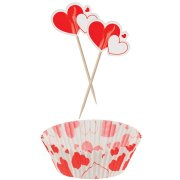 Kit 30 Caissettes et Déco à Cupcakes Coeur