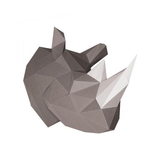 Trophée Rhinocéros Gris - Papier 3D