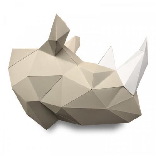 Trophée Rhinocéros Naturel - Papier 3D