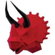 Trophée Tricératops Rouge - Papier 3D