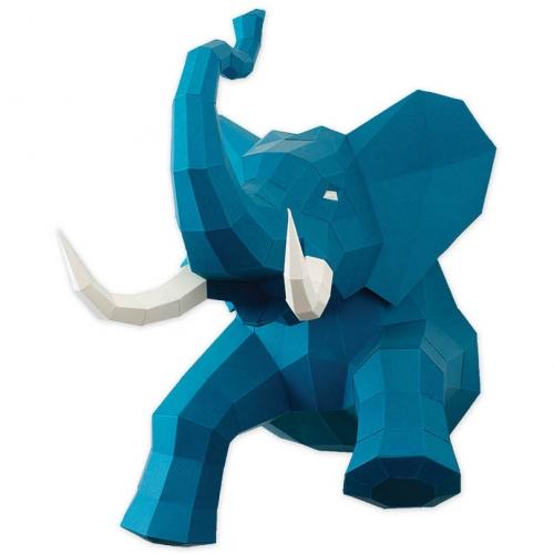 Trophée Eléphant Bleu - Papier 3D