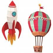 Trophée Fusée et Montgolfière en Papier 3D à Construire et leurs Décors