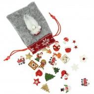 Set 24 Mini Cadeaux Déco (3 cm) + Sac feutrine - Calendrier de l'Avent en bois