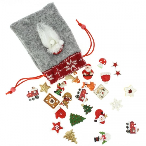 Set 24 Mini Cadeaux Déco (3 cm) + Sac feutrine - Calendrier de l Avent en bois