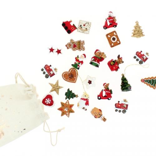 Set 24 Mini Cadeaux Déco (3 cm) + Sac coton - Calendrier de l Avent en bois