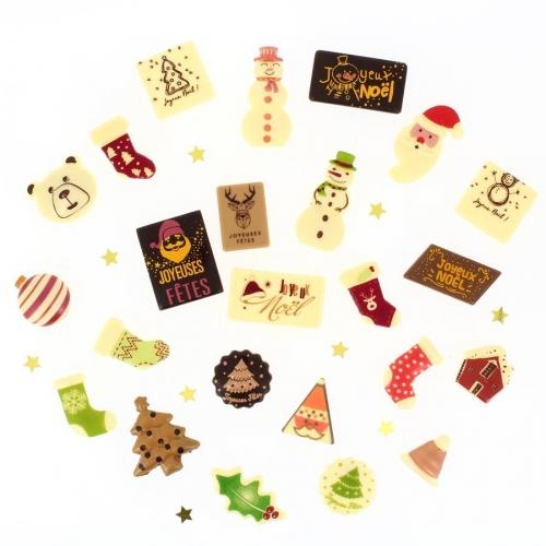 24 Petits Cadeaux Chocolats (6 cm maxi) - Calendrier de l Avent