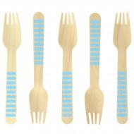 10 Fourchettes en Bois Rayures Bleues - Biodégradable