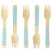 10 Fourchettes en Bois Rayures Bleues - Biodégradable. n°1