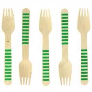 10 Fourchettes en Bois Rayures Vertes - Biodégradable