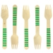 10 Fourchettes en Bois Rayures Vertes - Biodégradable. n°1