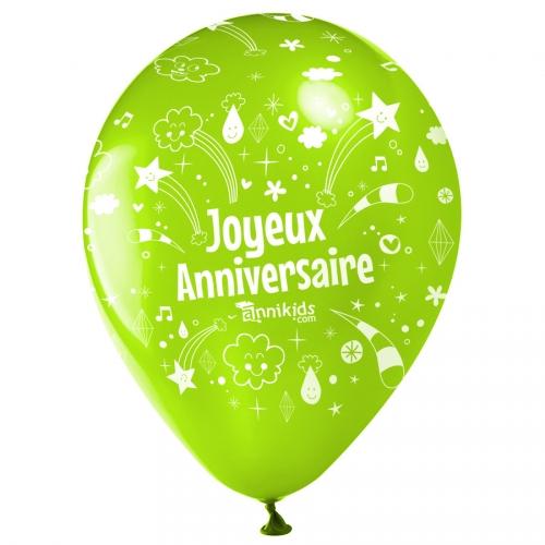 10 Ballons Joyeux Anniversaire Annikids - Vert lime